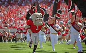 ATHENS, GA - SEPTEMBER 4, 2010: UGA, mascot of the University of Georgia Bulldogs football team runs onto the field during the game against the Lousiana Lafayette Ragin Cajuns on September 4, 2010 at Sanford Stadium in Athens, Georgia. The Bulldogs won 55-7. (Photo by Ashley Strickland/University of Georgia/Collegiate Images/Getty Images)