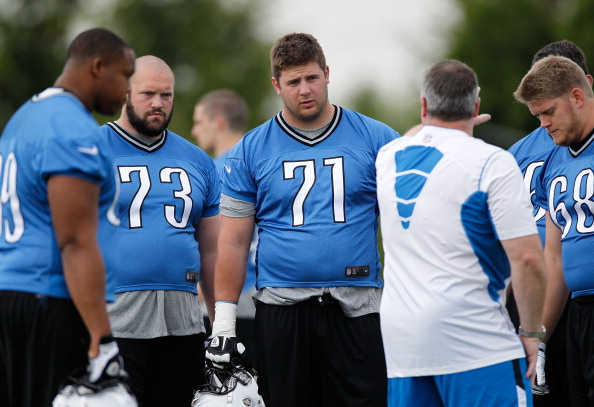 ALLEN PARK, MI - MAY 12:  Riley Reiff #71 of the Detroit Lions gets instructions during a rookie mini camp at the Detroit Lions Headquarters and Training Facility on May 12, 2012 in Allen Park, Michigan. (Photo by Gregory Shamus/Getty Images)