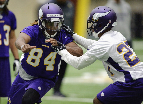 EDEN PRAIRIE, MN - MAY 03: Cordarrelle Patterson #84 of the Minnesota Vikings runs a drill during a rookie minicamp on May 3, 2013 at Winter Park in Eden Prairie, Minnesota. (Photo by Hannah Foslien/Getty Images)