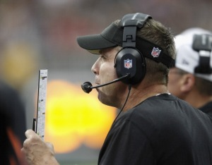 Sean Payton back in his element. (Photo Credit: Bob Levey/Getty Images Sport)