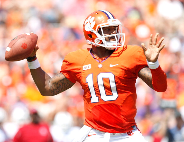 CLEMSON, SC - SEPTEMBER 7: Tajh Boyd #10 of the Clemson Tigers drops back for a pass during the game against the South Carolina State Bulldogs at Memorial Stadium on September 7, 2013 in Clemson, South Carolina. (Photo by Tyler Smith/Getty Images)