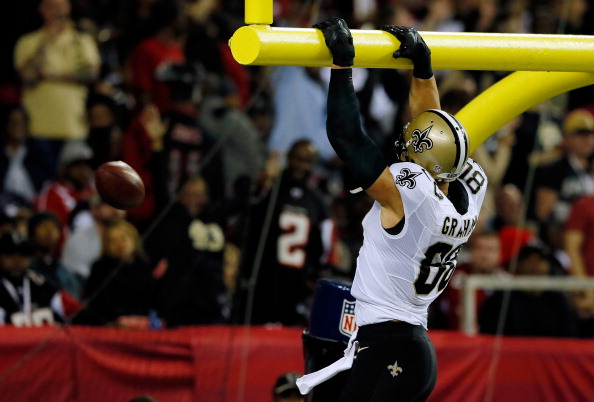 ATLANTA, GA - NOVEMBER 21: Tight end Jimmy Graham #80 of the New Orleans Saints celebrates a touchdown in the second quarter against the Atlanta Falcons during a game at the Georgia Dome on November 21, 2013 in Atlanta, Georgia.  (Photo by Kevin C. Cox/Getty Images)
