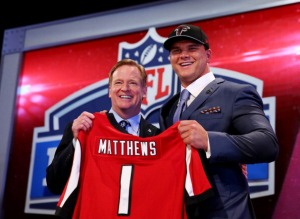 Jake Matthews hopes to improve a porous offensive line for the Falcons. (Photo Credit by Elsa/Getty Images)