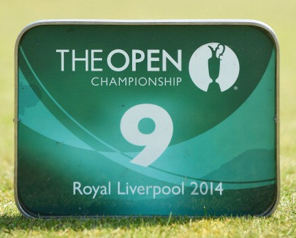 A detailed view of the tee marker on the ninth hole during the second round of The 143rd Open Championship at Royal Liverpool on July 18, 2014 in Hoylake, England.  (credit: Stuart Franklin/Getty Images)