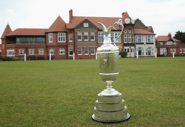 The Open Championship trophy (also known as the claret jug) is pictured in front of the clubhouse during The Open Championship. (credit: Andrew Redington/Getty Images)