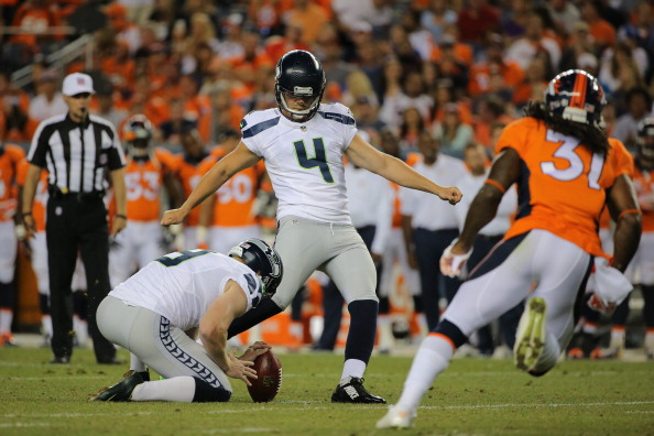 icker Steven Hauschka #4 of the Seattle Seahawks kicks a 41 yard field goal against the Denver Broncos during preseason action at Sports Authority Field at Mile High on August 7, 2014 in Denver, Colorado.  (Photo by Doug Pensinger/Getty Images)