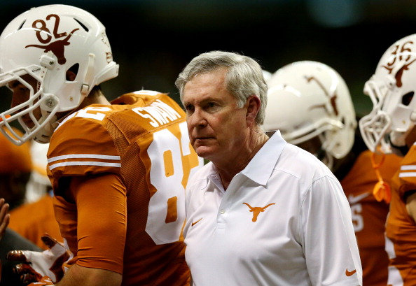 Head coach Mack Brown of the Texas Longhorns at the Alamodome on December 30, 2013 in San Antonio, Texas.(Photo by Ronald Martinez/Getty Images)