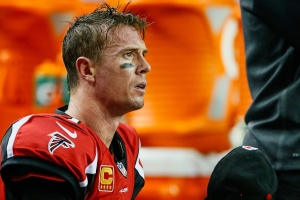 Quarterback Matt Ryan wonders what went wrong after the Falcons 34-3 loss to the Carolina Panthers. (Photo Credit: Kevin C. Cox/Getty Images Sport)