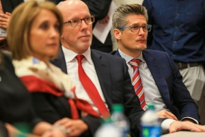 President & CEO Rich McKay and General Manager Thomas Dimitroff are look on as the Falcons' New Head Coach is introduced. (Photo Credit: Daniel Shirey/Getty Images Sport)