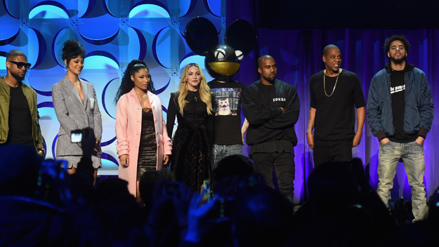 Usher, Rihanna, Nicki Minaj, Madonna, Deadmau5, Kanye West, JAY Z, and J. Cole onstage at the Tidal launch event #TIDALforALL at Skylight at Moynihan Station on March 30, 2015 in New York City.  (Photo by Jamie McCarthy/Getty Images)