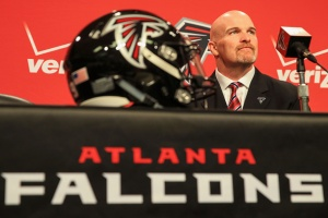 FLOWERY BRANCH, GA - FEBRUARY 03:  Atlanta Falcons head coach Dan Quinn speaks to the media during a press conference at the Atlanta Falcons Training Facility on February 3, 2015 in Flowery Branch, Georgia.  (Photo by Daniel Shirey/Getty Images)