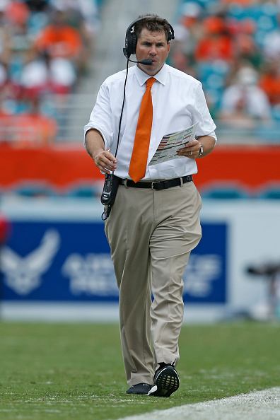 MIAMI GARDENS, FL - OCTOBER 24: Head coach Al Golden of the Miami Hurricanes walks the sideline during third quarter action against the Clemson Tigers on October 24, 2015 at Sun Life Stadium in Miami Gardens, Florida. Clemson defeated Miami 58-0. (Credit: Joel Auerbach/Getty Images)