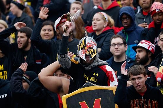 COLLEGE PARK, MD - OCTOBER 03: Maryland Terrapins fans cheer during the first half against the Michigan Wolverines at Byrd Stadium on October 3, 2015 in College Park, Maryland. (Credit: Rob Carr/Getty Images)