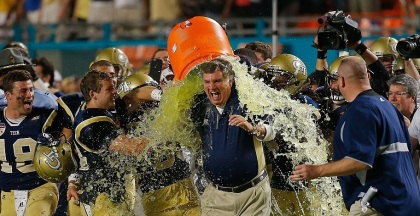 It took Georgia Tech's Paul Johnson no time at all to go from an ice bath to the hot seat. (Credit: Chris Trotman)