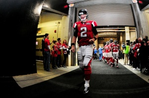 ATLANTA, GA - JANUARY 03:  Matt Ryan #2 of the Atlanta Falcons walks in the tunnel prior to the game against the New Orleans Saints at the Georgia Dome on January 3, 2016 in Atlanta, Georgia.  (Photo by Scott Cunningham/Getty Images)