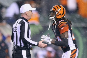 CINCINNATI, OH - JANUARY 09: Adam Jones #24 of the Cincinnati Bengals argues a call with referee John Parry #132 in the fourth quarter against the Pittsburgh Steelers during the AFC Wild Card Playoff game at Paul Brown Stadium on January 9, 2016 in Cincinnati, Ohio. Credit: Andy Lyons/Getty Images)