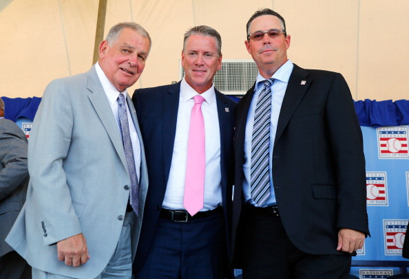 COOPERSTOWN, NY - JULY 27:  (L-R) Inductees Bobby Cox, Tom Glavine and Greg Maddux pose for a photograph at Clark Sports Center during the Baseball Hall of Fame induction ceremony on July 27, 2014 in Cooperstown, New York.  Glavine won 305 games and two National League Cy Young awards during his 22 year career. Maddux won 355 games and four consecutive National League Cy Young awards (1992-95) during his 23 year career. Cox managed for 29 seasons with 2,504 victories and won five National League pennants and the 1995 World Series with the Atlanta Braves.  (Photo by Jim McIsaac/Getty Images)