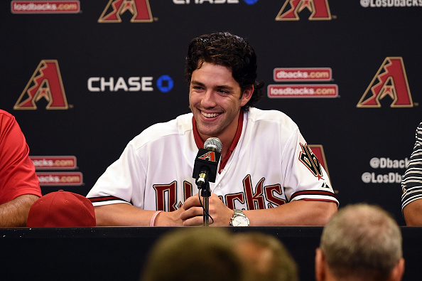 PHOENIX, AZ - JULY 20:  Dansby Swanson of the Arizona Diamondbacks, the first overall pick in the 2015  Major League Baseball draft, talks to the media prior to a game against the Miami Marlins at Chase Field on July 20, 2015 in Phoenix, Arizona.  (Photo by Norm Hall/Getty Images)
