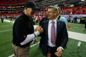 General Manager Thomas Dimitroff and Head Coach Dan Quinn in the second half against the Houston Texans at the Georgia Dome on October 4, 2015 in Atlanta, Georgia. (Photo Credit: Kevin C. Cox/Getty Images)