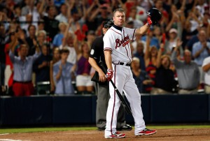 ATLANTA, GA - OCTOBER 05: Chipper Jones #10 of the Atlanta Braves tips his helmet to the crowd before his final at bat before the Braves lose to the St. Louis Cardinals 6-3 during the National League Wild Card playoff game at Turner Field on October 5, 2012 in Atlanta, Georgia. (Photo by Kevin C. Cox/Getty Images)