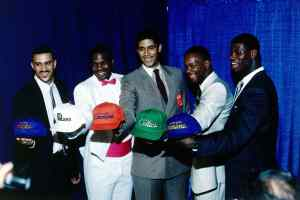 "NEW YORK - 1986: The NBA top first round draft picks in 1986 from (L to R): Kenny ""Sky"" Walker, Chuck Person, Brad Daugherty, Len Bias and Chris Washburn in New York, New York. NOTE TO USER: User expressly acknowledges and agrees that, by downloading and or using this photograph, User is consenting to the terms and conditions of the Getty Images License Agreement. Mandatory copyright notice: Copyright NBAE 2002 (Photo by Noren Trotman/ NBAE/ Getty Images)"