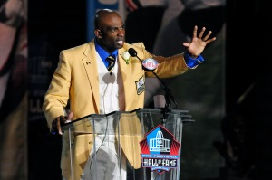 Former Atlanta Falcons cornerback Deion Sanders at his Enshrinement at the Pro Football Hall of in Canton. (Photo by Jason Miller/Getty Images)