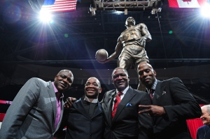 ATLANTA, GA - MARCH 5: Gerald Wilkins, John Battle, Dominique Wilkins, and Kevin Willis pose for a photo at the Dominique Wilkins Statue Unveiling Ceremony on February 25, 2015 at Philips Arena in Atlanta, Georgia. NOTE TO USER: User expressly acknowledges and agrees that, by downloading and/or using this Photograph, user is consenting to the terms and conditions of the Getty Images License Agreement. Mandatory Copyright Notice: Copyright 2015 NBAE (Photo by Scott Cunningham/NBAE via Getty Images)