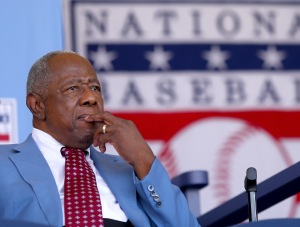 Hank Aaron attends the Hall of Fame Induction Ceremony on July 26, 2015 in (Photo by Elsa/Getty Images)