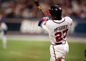 Fred McGriff of the Braves hits a home run during a game at Fulton County Stadium in 1995 (Getty Images)