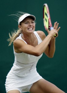Maria Sharapova at Wimbledon in 2003 in London. (Photo by Clive Brunskill/Getty Images)