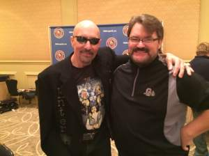 Paul Ellering, the Road Warriors manager and Tony Schiavone (Courtesy NWA Legends Fan Fest)