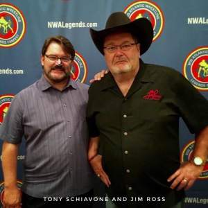 Two longtime friends (and at one time roommates) Tony Schiavone and Jim Ross (Courtesy NWA Legends Fan Fest)