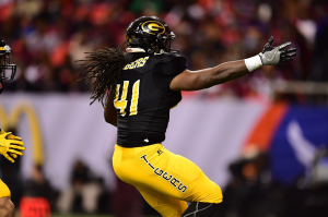 Malcolm Williams for Grambling celebrating his Tigers win in the Celebration Bowl. (Photo Credit: Phil Ellsworth)