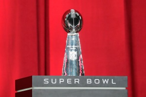 The Vince Lombardi Trophy is seen onstage during Super Bowl 51 Opening Night on January 30, 2017 (Photo by Tim Warner/Getty Images)