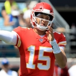 Patrick Mahomes #15 of the Kansas City Chiefs attempts a pass during the game against the Jacksonville Jaguars at TIAA Bank Field on September 08, 2019 in Jacksonville, Florida.